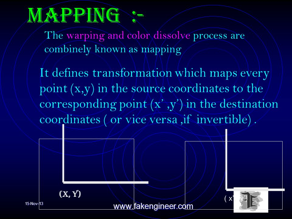 15-Nov-13www.fakengineer.com Mapping :- It defines transformation which maps every point (x,y) in the source coordinates to the corresponding point (x