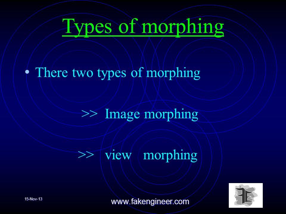15-Nov-13www.fakengineer.com Types of morphing There two types of morphing >> Image morphing >> view morphing