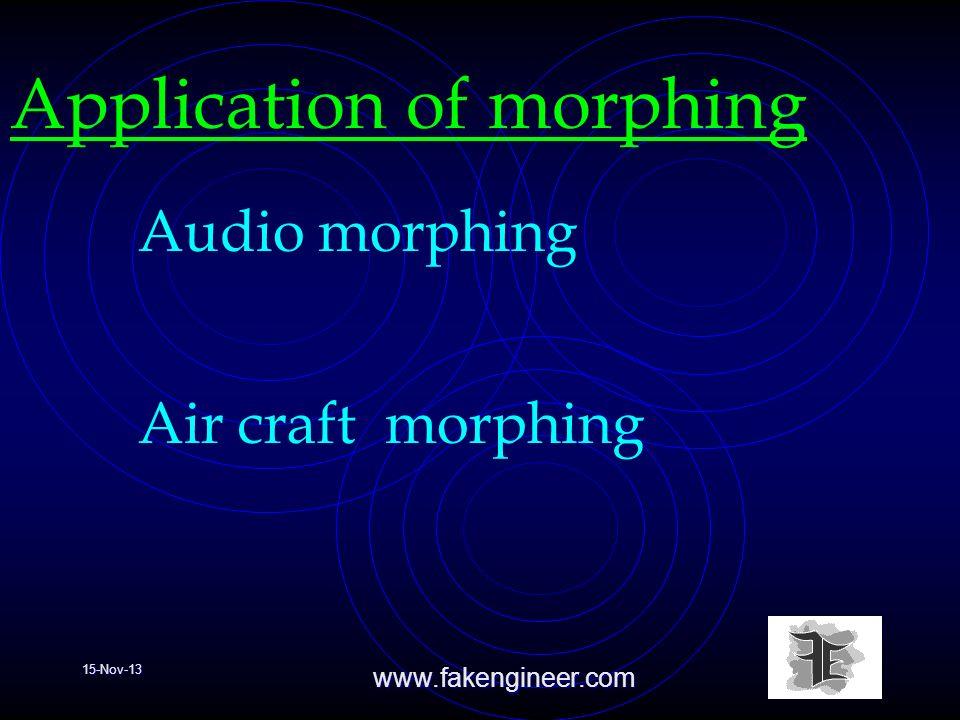 15-Nov-13www.fakengineer.com Application of morphing Audio morphing Air craft morphing