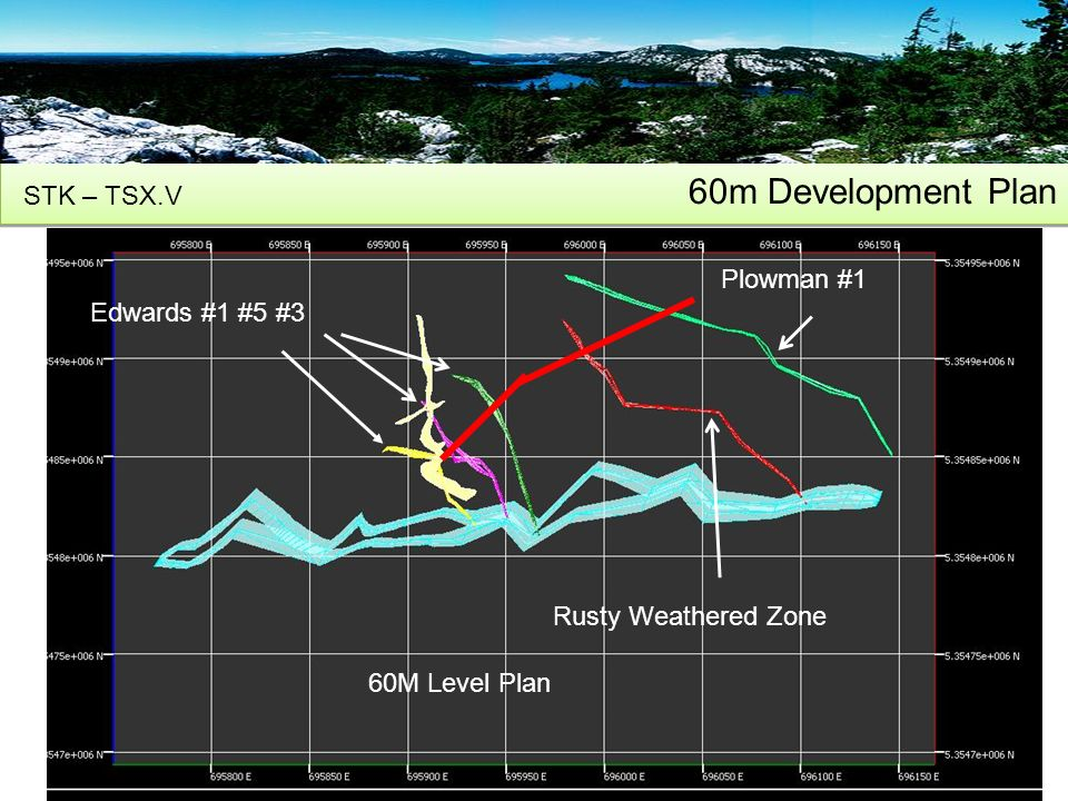 60m Development Plan STK – TSX.V 14 Edwards #1 #5 #3 Rusty Weathered Zone Plowman #1 60M Level Plan