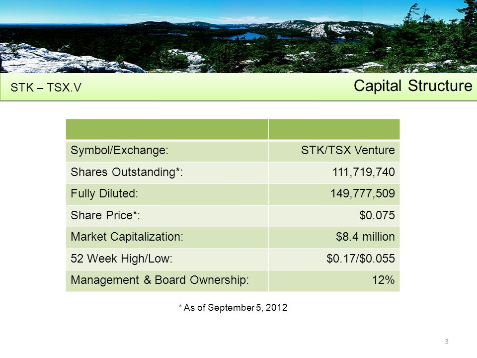 Capital Structure STK – TSX.V 3 Symbol/Exchange:STK/TSX Venture Shares Outstanding*:111,719,740 Fully Diluted:149,777,509 Share Price*:$0.075 Market Capitalization:$8.4 million 52 Week High/Low:$0.17/$0.055 Management & Board Ownership:12% * As of September 5, 2012