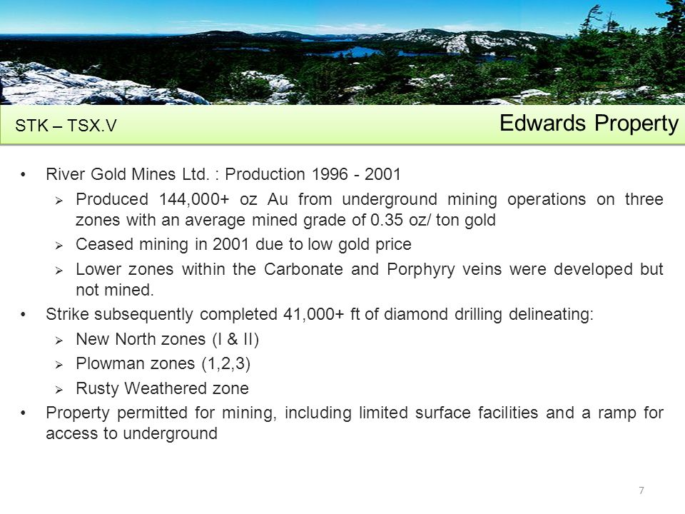 Edwards Property River Gold Mines Ltd.