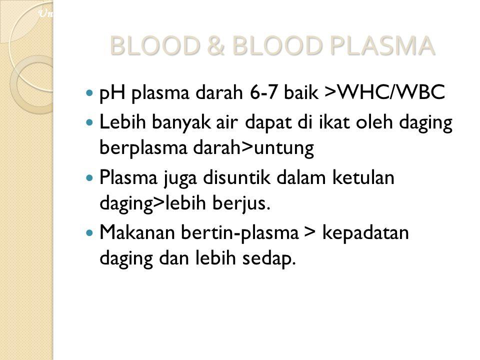 BLOOD & BLOOD PLASMA pH plasma darah 6-7 baik >WHC/WBC Lebih banyak air dapat di ikat oleh daging berplasma darah>untung Plasma juga disuntik dalam ke