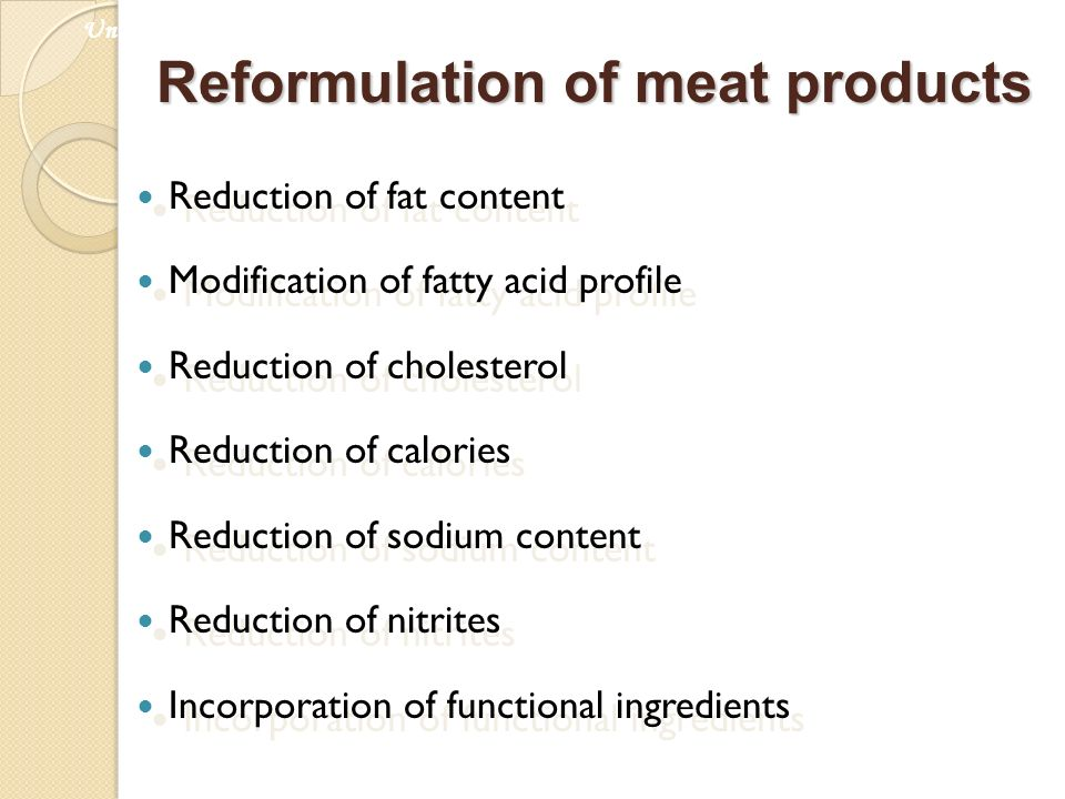 Reformulation of meat products Reduction of fat content Modification of fatty acid profile Reduction of cholesterol Reduction of calories Reduction of