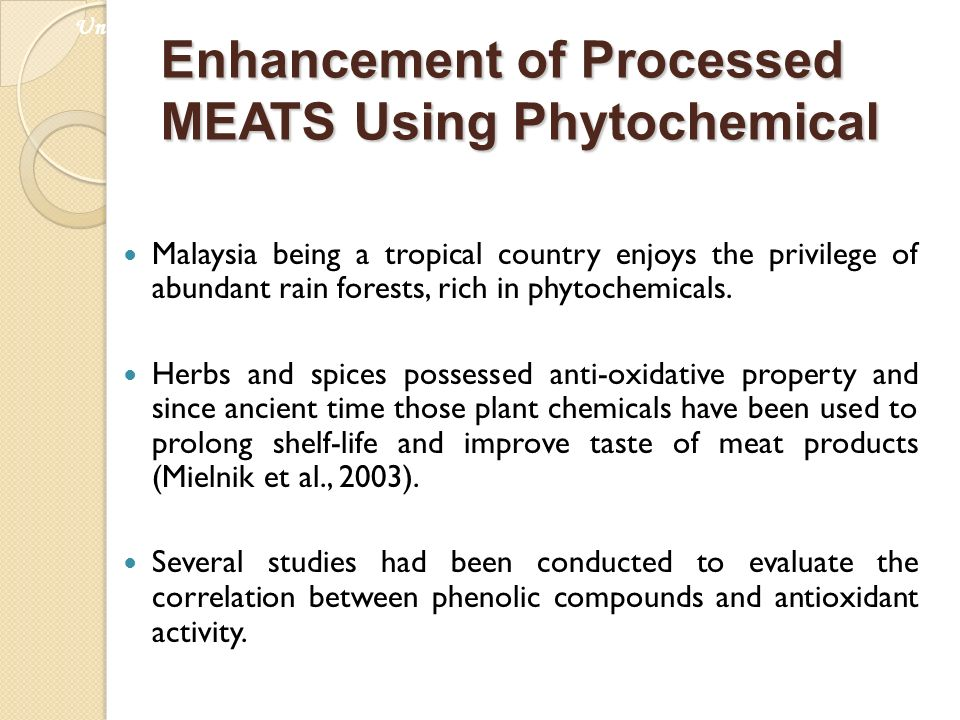 Malaysia being a tropical country enjoys the privilege of abundant rain forests, rich in phytochemicals. Herbs and spices possessed anti-oxidative pro