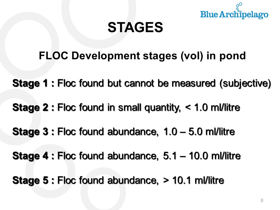 8 Stage 1 : Floc found but cannot be measured (subjective) Stage 2 : Floc found in small quantity, < 1.0 ml/litre Stage 3 : Floc found abundance, 1.0