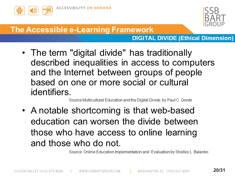20/31 E-Learning Accessibility Issues DIGITAL DIVIDE (Ethical Dimension) The term