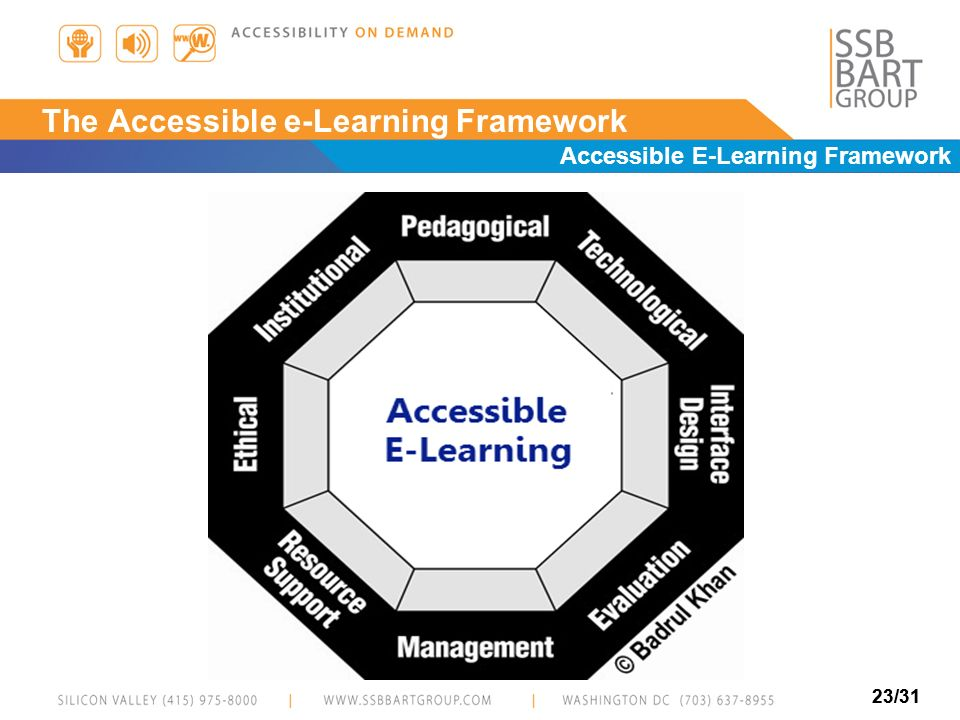 23/31 The Accessible e-Learning Framework Accessible E-Learning Framework