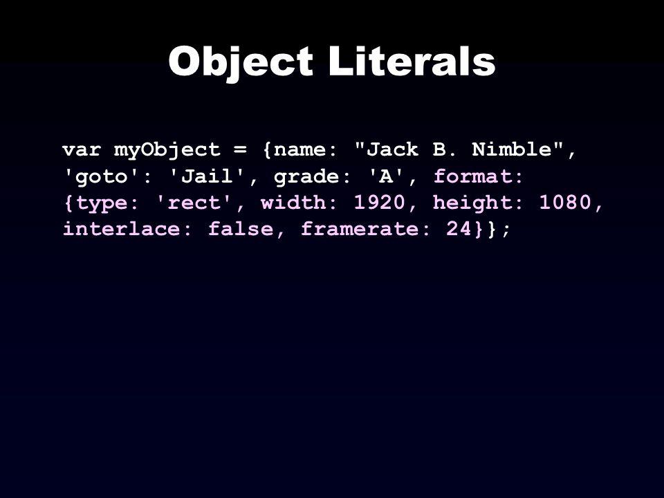 Object Literals var myObject = {name: