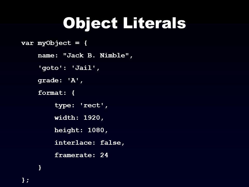 Object Literals var myObject = { name: