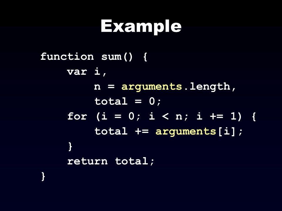 Example function sum() { var i, n = arguments.length, total = 0; for (i = 0; i < n; i += 1) { total += arguments[i]; } return total; }