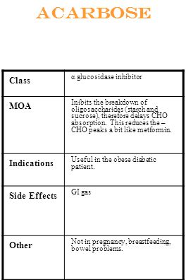 Acarbose Class α glucosidase inhibitor MOA Inibits the breakdown of oligosaccharides (starch and sucrose), therefore delays CHO absorption. This reduc