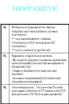 Histamine H1H1 Histamine in hypersensitivity reaction. Capillary and venous dilation (systemic hypotension vascular permeability (oedema) Contraction