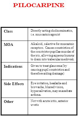 Pilocarpine Class Directly acting cholinomimetics, i.e. muscarinic agonist MOA Alkaloid, selective for muscarinic receptors. Causes constriction of th