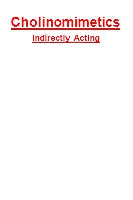Cholinomimetics Indirectly Acting