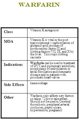 Warfarin Class Vitamin K antagonist MOA Vitamin K is vital in the post transcriptional γ-carboxylation of glutamic acid residues of prothrombin (facto