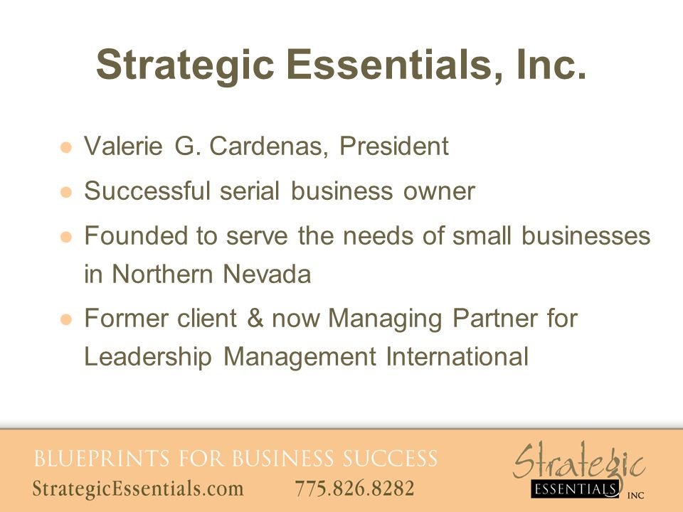 Strategic Essentials, Inc. Valerie G. Cardenas, President Successful serial business owner Founded to serve the needs of small businesses in Northern