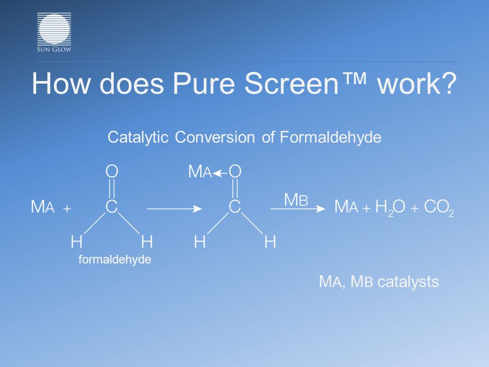 How does Pure Screen work Catalytic Conversion of Formaldehyde M A, M B catalysts formaldehyde