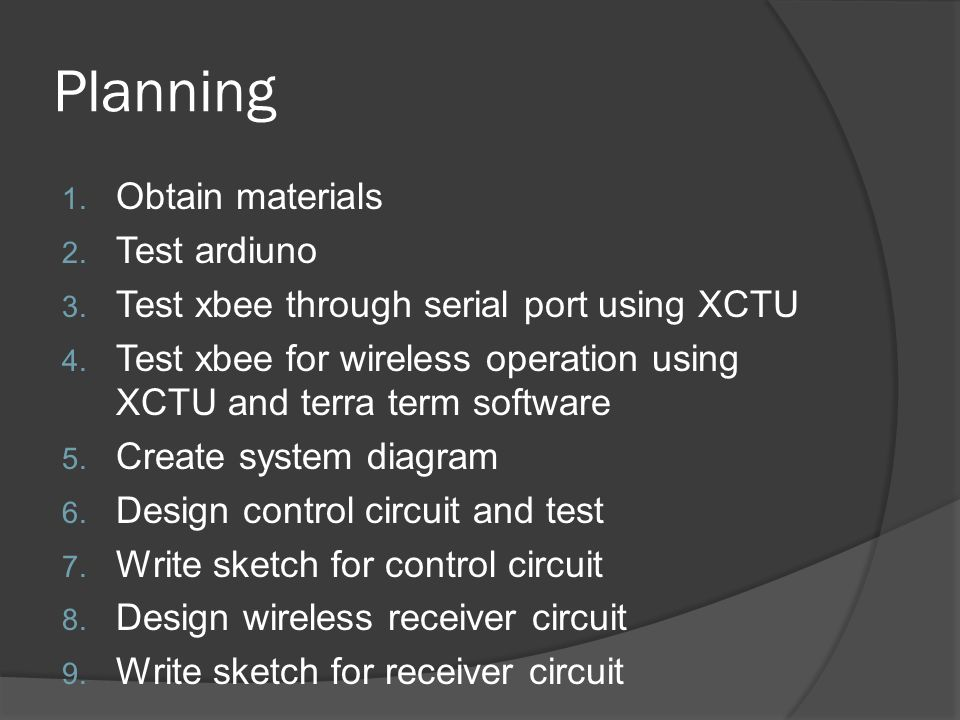 Planning 1. Obtain materials 2. Test ardiuno 3. Test xbee through serial port using XCTU 4.