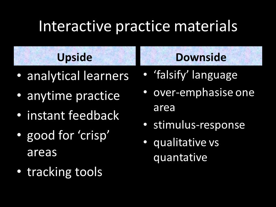 Interactive practice materials UpsideDownside analytical learners anytime practice instant feedback good for crisp areas tracking tools falsify langua