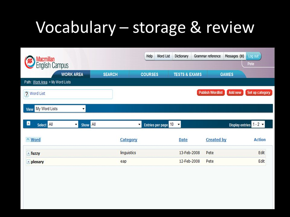 Vocabulary – storage & review