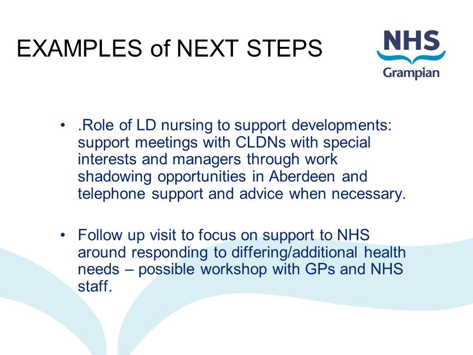 EXAMPLES of NEXT STEPS.Role of LD nursing to support developments: support meetings with CLDNs with special interests and managers through work shadow