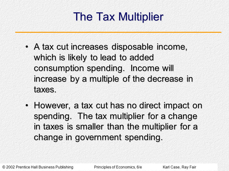 © 2002 Prentice Hall Business PublishingPrinciples of Economics, 6/eKarl Case, Ray Fair The Tax Multiplier A tax cut increases disposable income, which is likely to lead to added consumption spending.