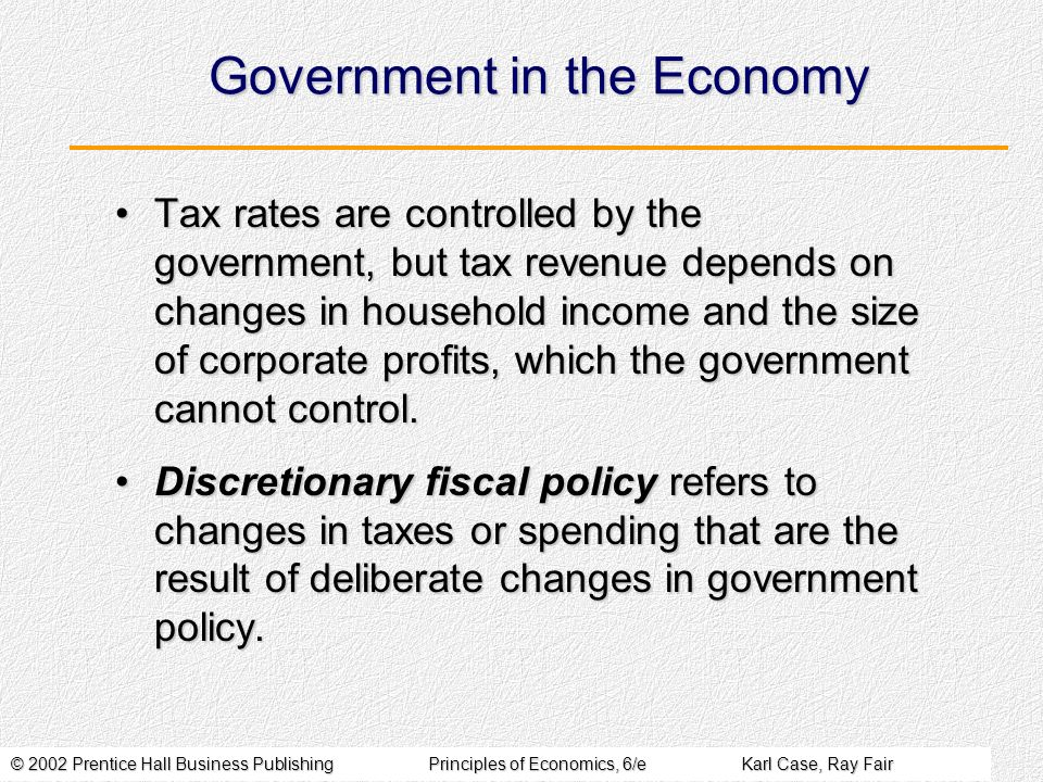 © 2002 Prentice Hall Business PublishingPrinciples of Economics, 6/eKarl Case, Ray Fair Government in the Economy Tax rates are controlled by the government, but tax revenue depends on changes in household income and the size of corporate profits, which the government cannot control.Tax rates are controlled by the government, but tax revenue depends on changes in household income and the size of corporate profits, which the government cannot control.