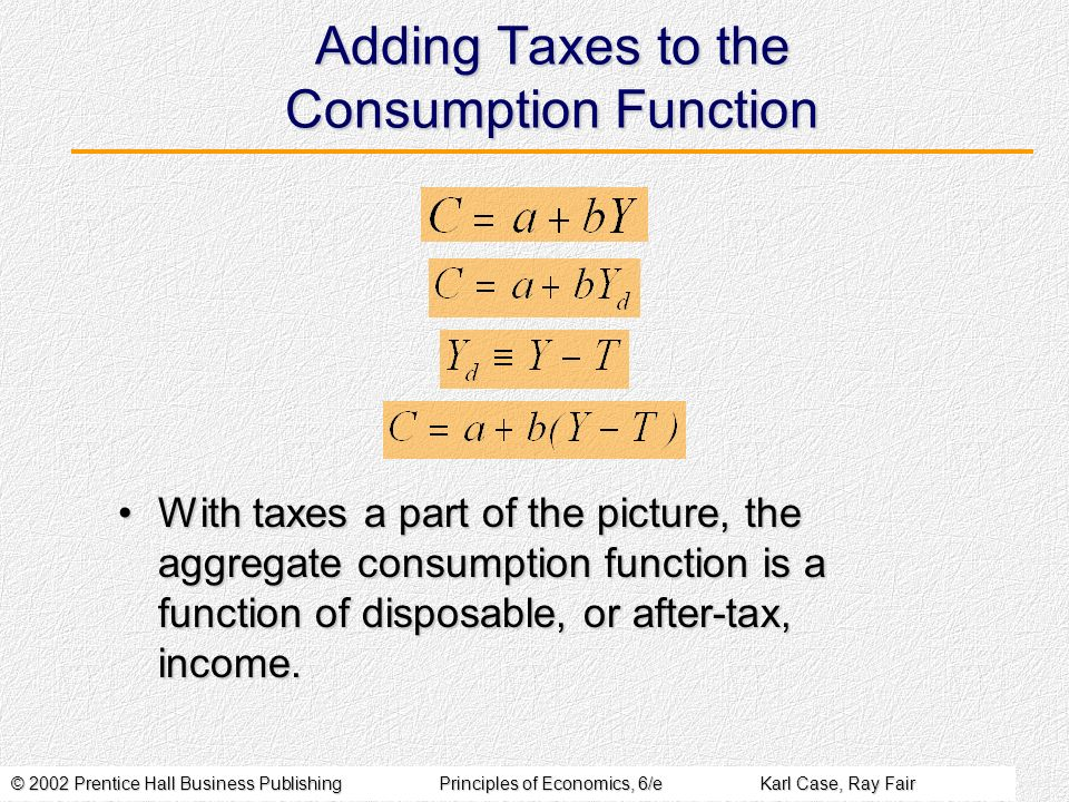 © 2002 Prentice Hall Business PublishingPrinciples of Economics, 6/eKarl Case, Ray Fair Adding Taxes to the Consumption Function With taxes a part of the picture, the aggregate consumption function is a function of disposable, or after-tax, income.With taxes a part of the picture, the aggregate consumption function is a function of disposable, or after-tax, income.