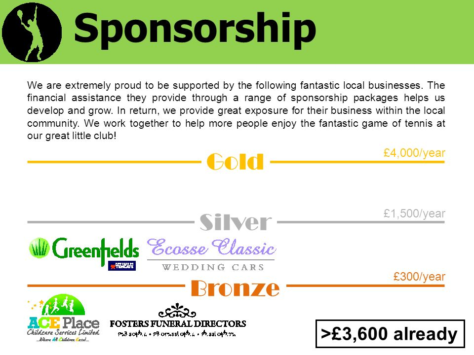 £1,500/year £300/year £4,000/year Sponsorship We are extremely proud to be supported by the following fantastic local businesses.