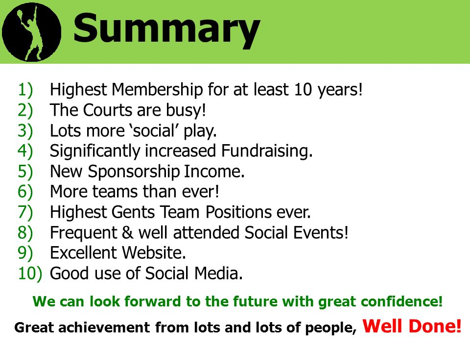 Summary 1)Highest Membership for at least 10 years.