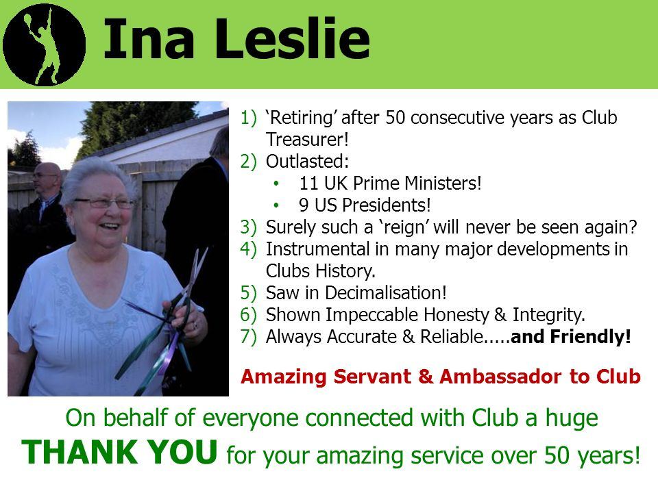 Ina Leslie 1)Retiring after 50 consecutive years as Club Treasurer.