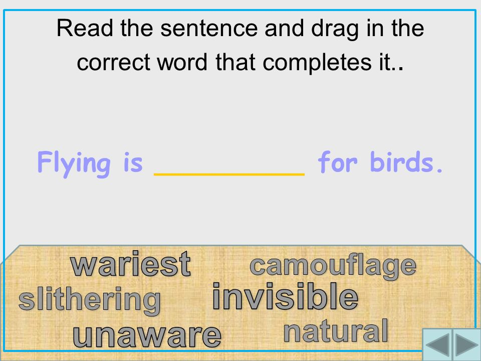 Read the sentence and drag in the correct word that completes it.. Flying is _________ for birds.
