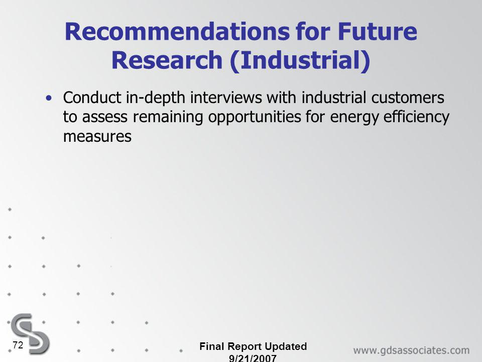 Final Report Updated 9/21/2007 72 Recommendations for Future Research (Industrial) Conduct in-depth interviews with industrial customers to assess remaining opportunities for energy efficiency measures