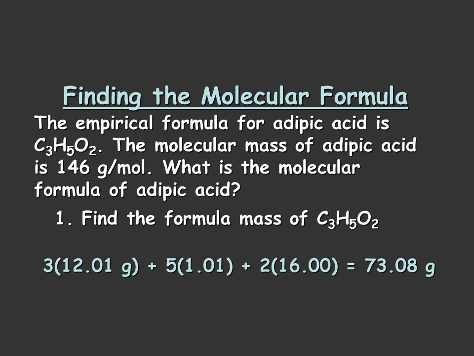 Empirical Formula Determination (part 3) Multiply each number by an integer to obtain all whole numbers. Carbon: 1.50 Hydrogen: 2.50 Oxygen: 1.00 x 2