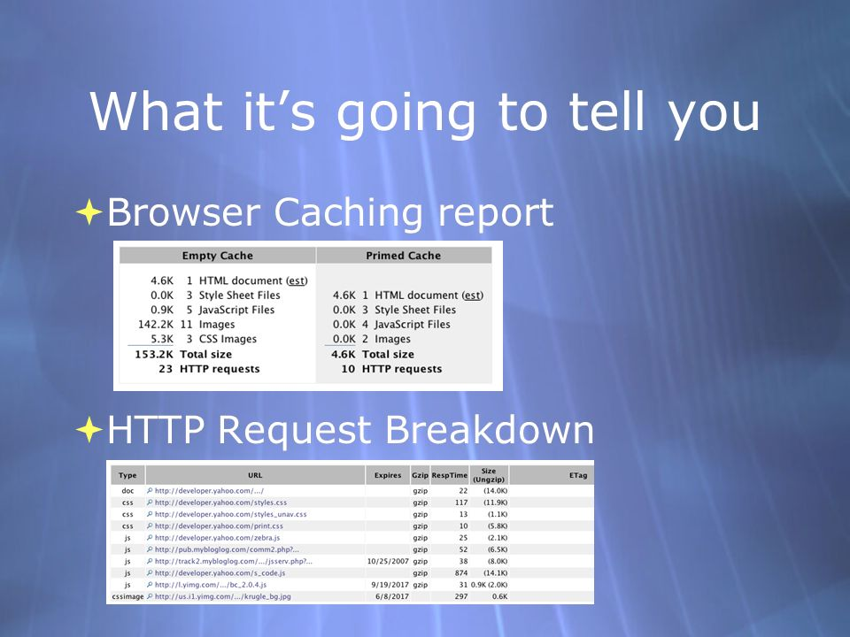 What its going to tell you Browser Caching report HTTP Request Breakdown Browser Caching report HTTP Request Breakdown