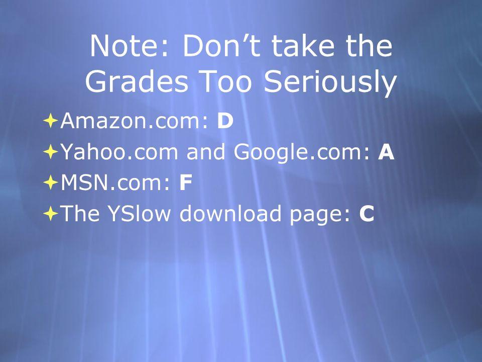 Note: Dont take the Grades Too Seriously Amazon.com: D Yahoo.com and Google.com: A MSN.com: F The YSlow download page: C Amazon.com: D Yahoo.com and Google.com: A MSN.com: F The YSlow download page: C