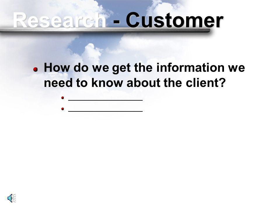 Research - Customer What do we need to know about the customer before we make the call? Name of the gatekeeper____________ Name of the decision maker