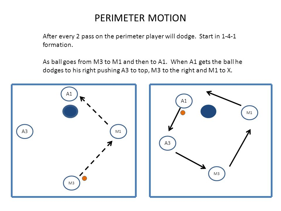 PERIMETER MOTION A1 A3 M1 M3 A1 A3 M1 M3 After every 2 pass on the perimeter player will dodge.