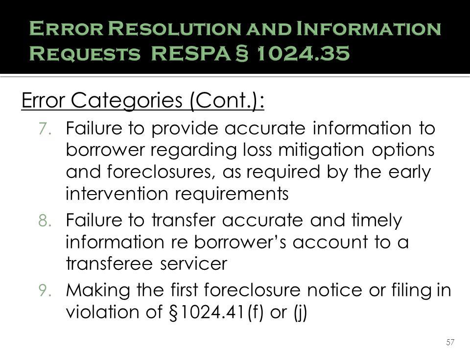 57 Error Categories (Cont.): 7.