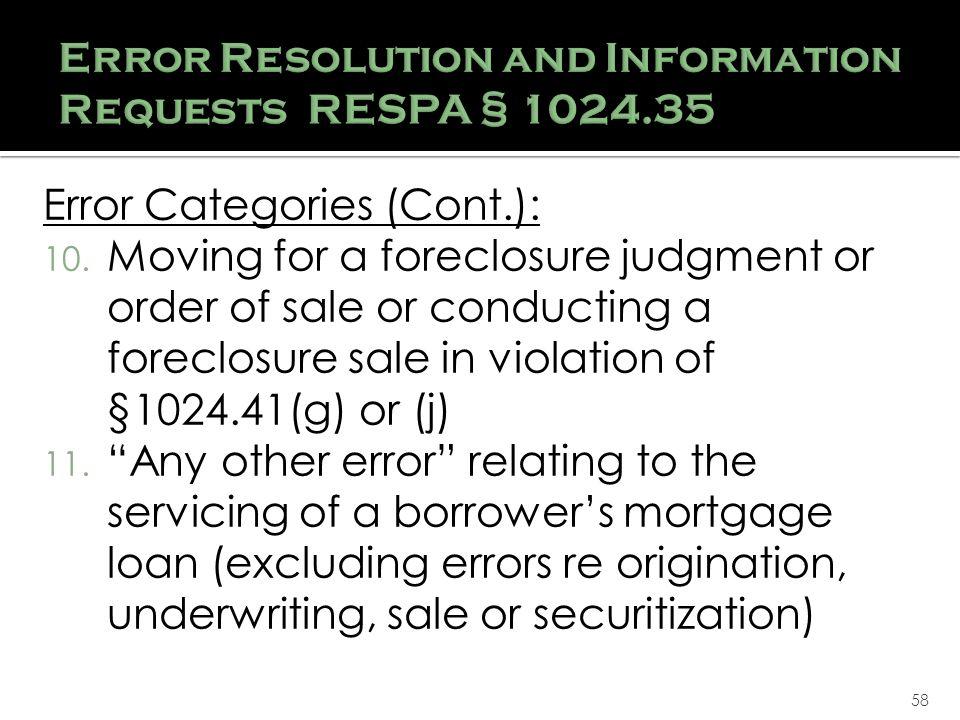 58 Error Categories (Cont.): 10.