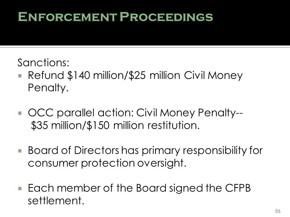 86 Sanctions: Refund $140 million/$25 million Civil Money Penalty.