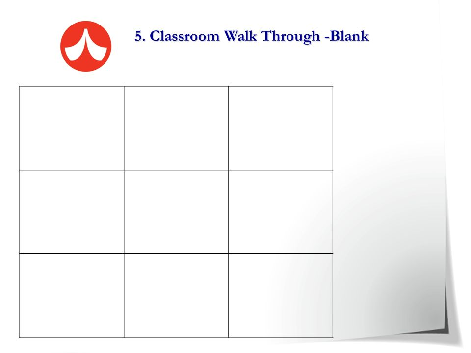 5. Classroom Walk Through - Example Classroom environment Planning and Preparation Instructional Practices Effective Teaching Strategies Rapport betwe