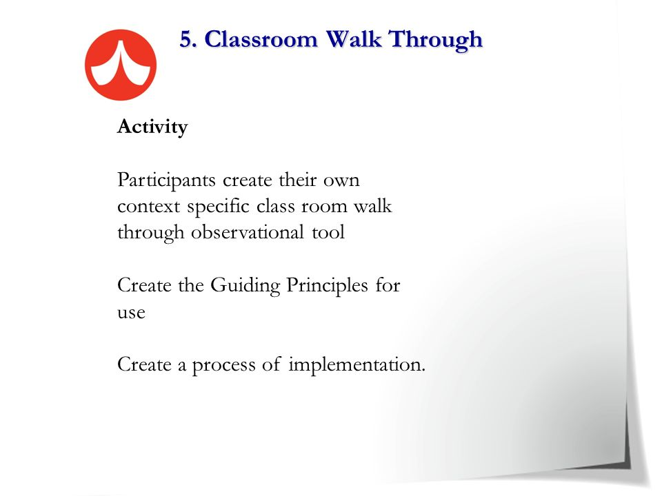 5. Classroom Walk Through -Blank