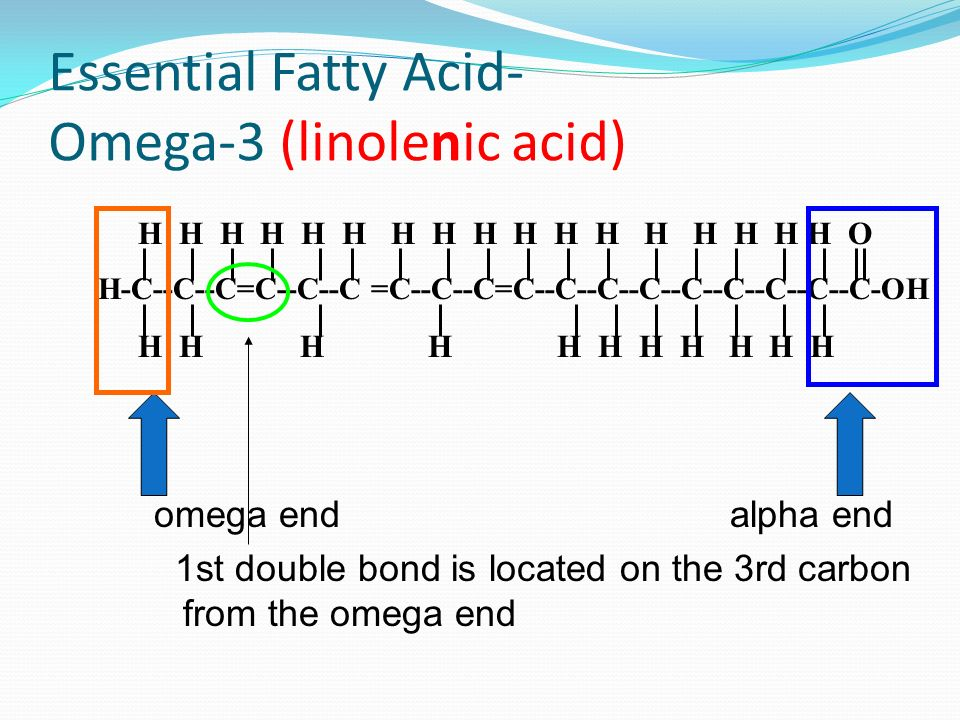 Omega-6 (linoleic) fatty acid Found in vegetable oils Only need ~ 1 tablespoon a day Arachidonic acid can be made from omega-6 Metabolized to form eic