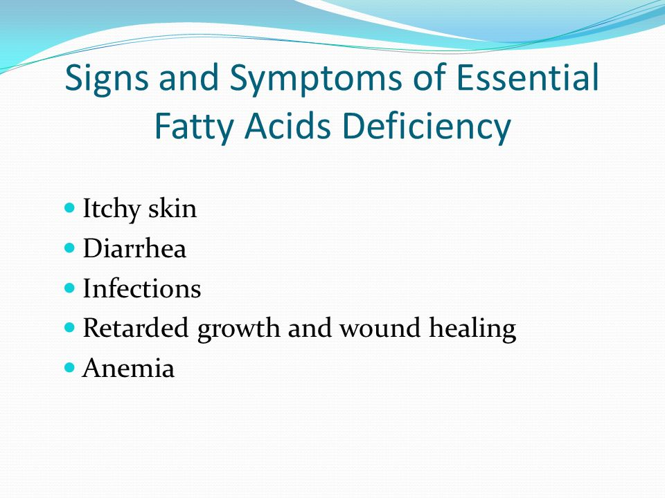 Essential Fatty Acids Must be eaten Body can only make double bonds after the 9 th carbon from the omega end. Needed for immune function, vision, cell