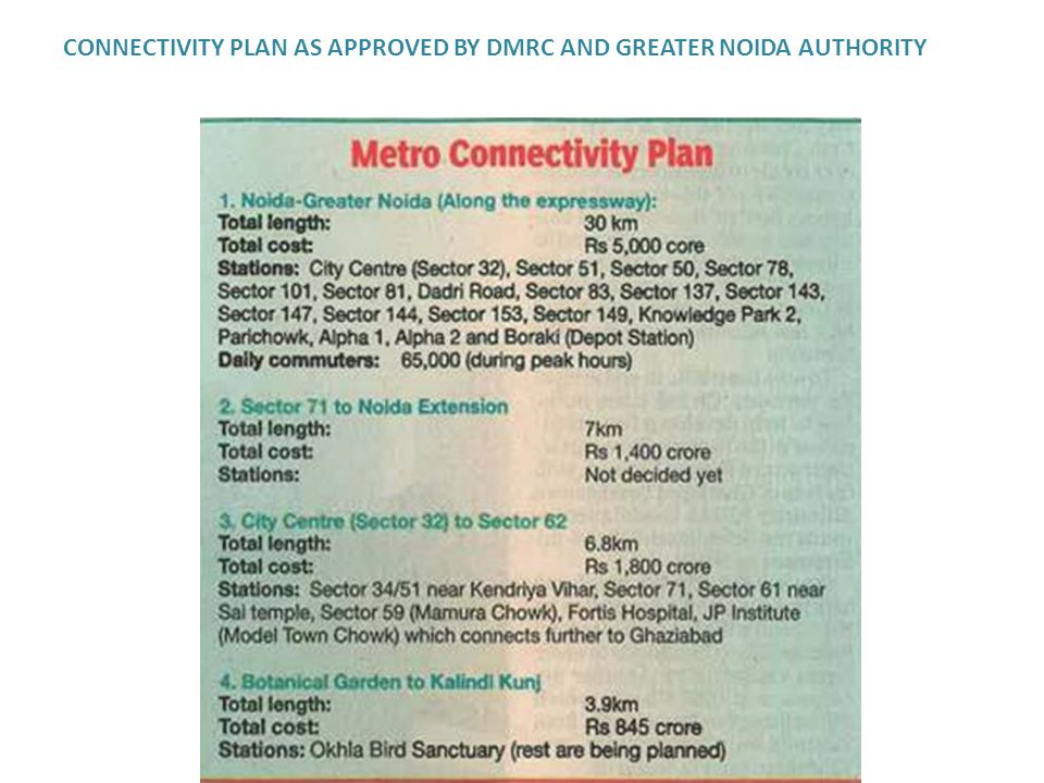 CONNECTIVITY PLAN AS APPROVED BY DMRC AND GREATER NOIDA AUTHORITY