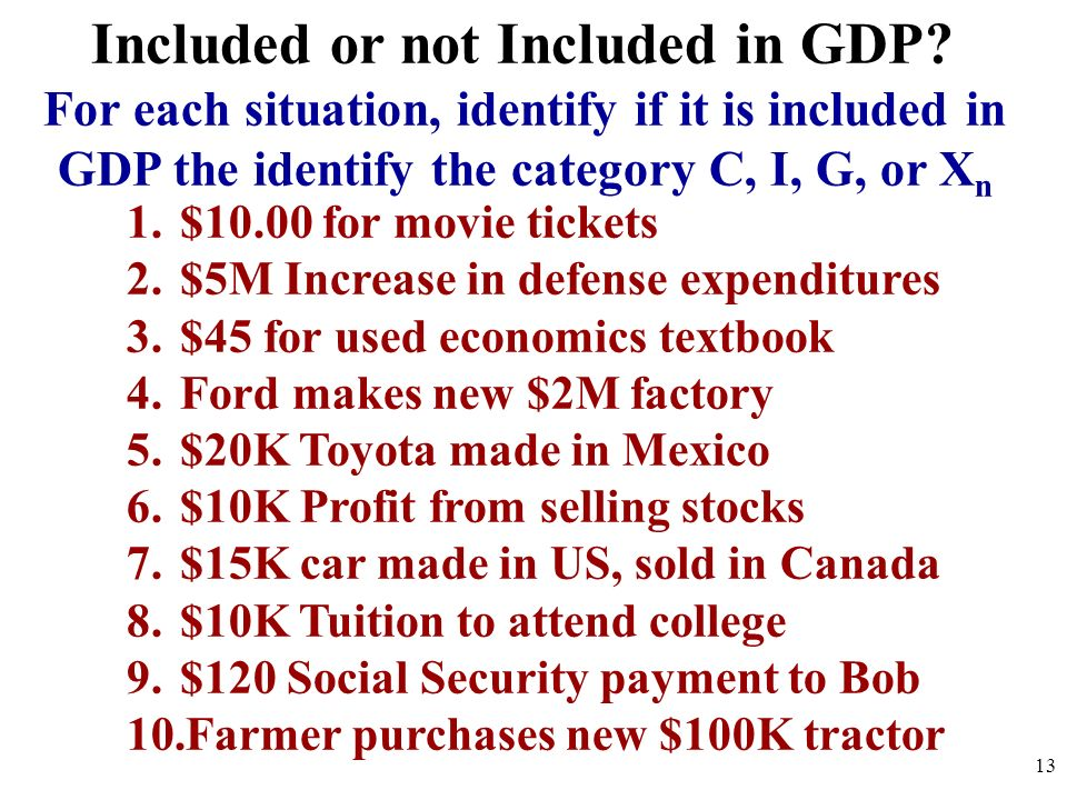 Included or not Included in GDP? For each situation, identify if it is included in GDP the identify the category C, I, G, or X n 1.$10.00 for movie ti