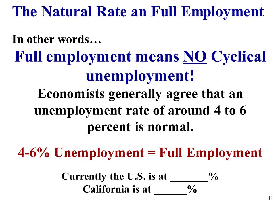 In other words… Full employment means NO Cyclical unemployment! Economists generally agree that an unemployment rate of around 4 to 6 percent is norma