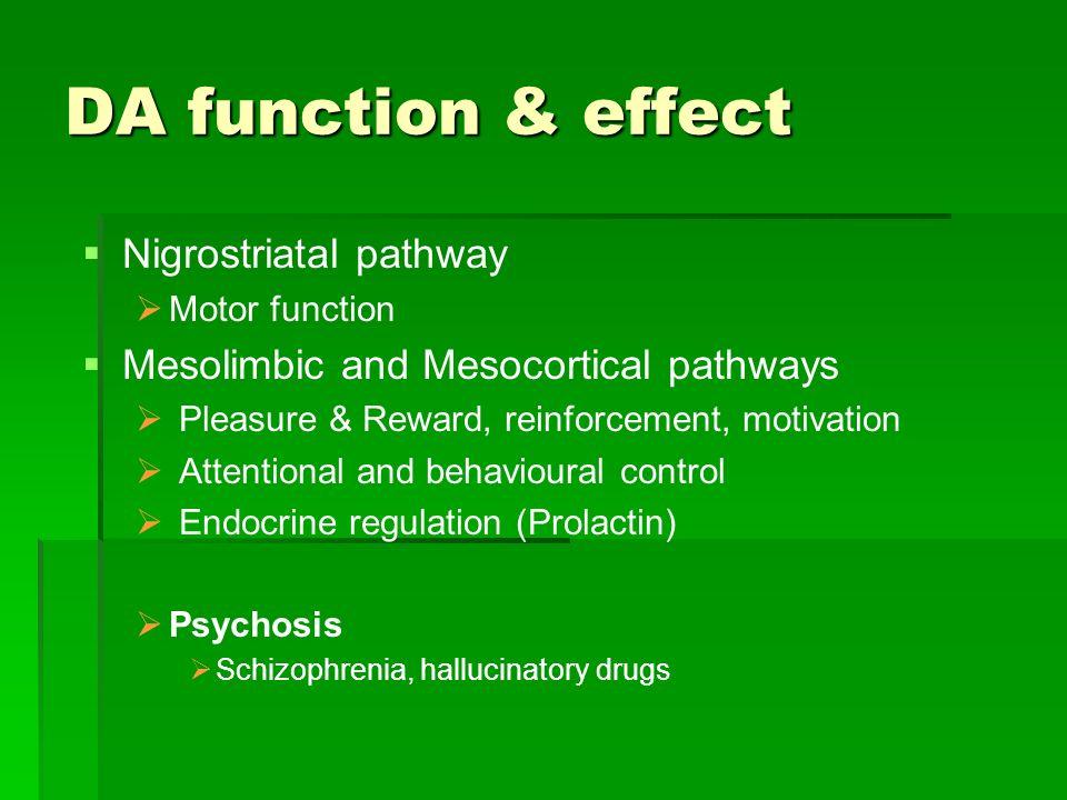 DA function & effect Nigrostriatal pathway Motor function Mesolimbic and Mesocortical pathways Pleasure & Reward, reinforcement, motivation Attentiona